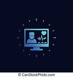online, ícone, diagnóstico, médico