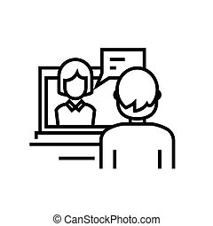 online, linear, conceito, esboço, ícone, símbolo., comunicação, sinal, vetorial, linha, ilustração