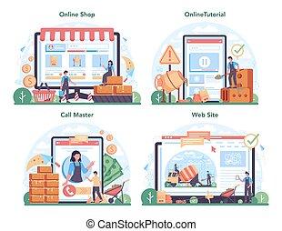 online, profissional, concreto, plataforma, serviço, trabalhador, construtor, set., ou