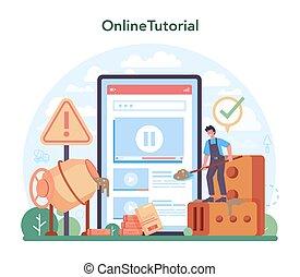 online, profissional, concreto, platform., serviço, trabalhador, construtor, ou