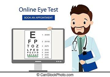 online, tela, computador, doutor, optometrist, teste olho, macho