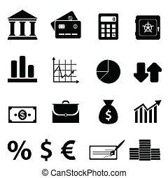 operação bancária, finanças, ícones negócio