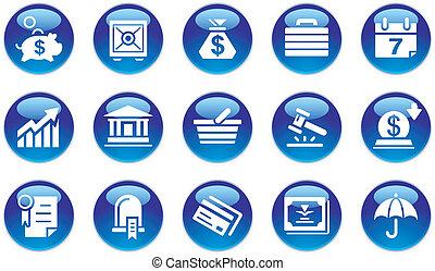 operação bancária, jogo, &, ícones negócio