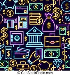 operação bancária, padrão, néon, seamless