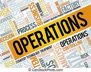 operações, palavra, nuvem