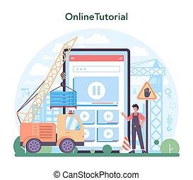 operador, construtor, industrial, serviço, ou, guindaste, online, platform.