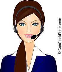 operador, sorrindo, telefone