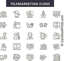 operador, telemarketing, illustration:, ajuda, linha, telemarketing, jogo, telefone, esboço, conceito, apoio, vector., cliente, centro, serviço, chamada, sinais, ícones