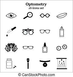 optometry, olho, correção, set., oculista, diagnóstico, vetorial, pretas, cuidado, ophtalmology, teste, visão, ícone
