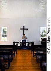 orando, histórico, homem, igreja
