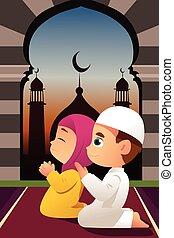 orando, mesquita, crianças, muçulmano