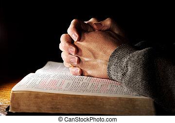 orar passa, sobre, bíblia santa