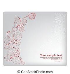 orchid., card., mãe, saudação, vetorial, dia