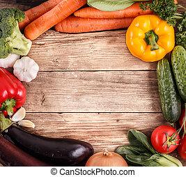 orgânica, espaço, legumes, text., alimento., madeira, fundo