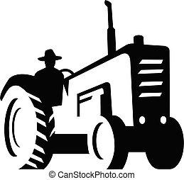 orgânica, monocromático, fazenda, retro, dirigindo, vindima, agricultor, trator, silueta