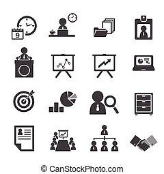 organização, gerência, jogo, negócio, ícone
