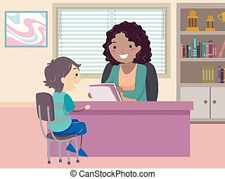 orientação, ilustração, stickman, menino, criança, conselheiro