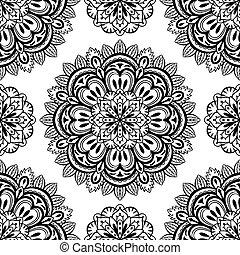 oriental, vetorial, seamless, fundo, mandalas