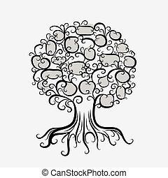 ornamental, desenho, árvore, seu, raizes