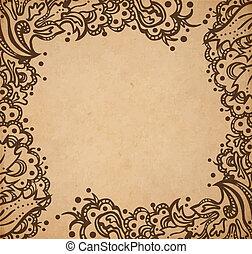 ornamental, estilo, antigas, vindima, quadro, textura, mão, papel, vitoriano, vetorial, scrapbooking, ilustração, fundo, floral, desenhado, página