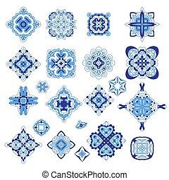 ornamental, modelo, damasco, set., símbolos, vetorial, medalhão, geomã©´ricas, árabe