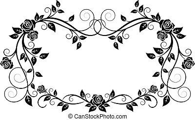 ornamental, quadro, flores, rosa