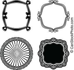 ornamental., quadro, vetorial, jogo