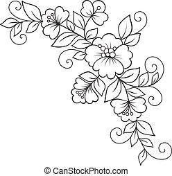 ornamento, flor, desenho, element.