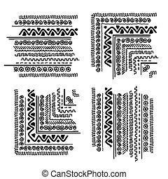 ornamento, projete elementos, feito à mão, étnico