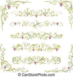 ornamento, scroll, vinho
