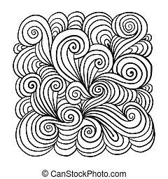 ornamento, seu, fundo, mão, desenhado, projeto abstrato