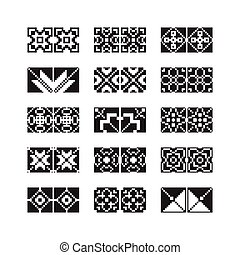 ornamento, vetorial, jogo, pixel