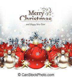 ornamentos, deitando, natal, neve