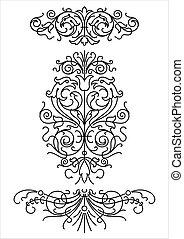 ornamentos, retro, (vector)