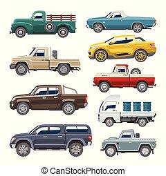 ou, automático, mockup, car, veículo, cima, offroad, isolado, entrega, pickup, vetorial, caminhão, ilustração, fundo, pico, branca, citycar, transporte, automóvel
