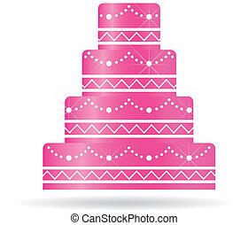 ou, bolo, convites, card., casório, cor-de-rosa