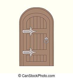 ou, casa, caricatura, isolated., antigas, ilustração, vetorial, porta madeira, fada