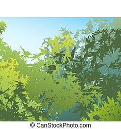 ou, coloridos, diferente, gráficos, verão, -, edited, assim, camadas, vetorial, foliage, separado, ser, lata, individually, eles, movido, ilustração, facilmente, paisagem
