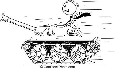 ou, conceito, político, tank., caricatura, jogo, pequeno, homem negócios, guerra