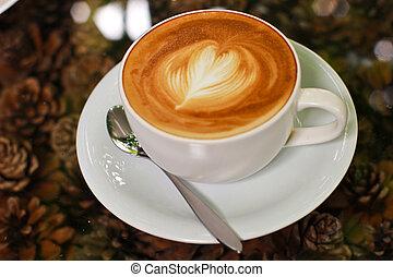 ou, coração, cappuccino, latte, café, forma