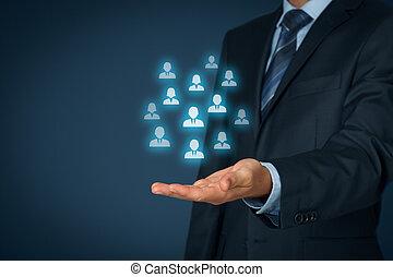 ou, cuidado, conceito, empregados, cliente