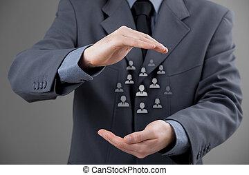 ou, cuidado, empregados, cliente, conceito
