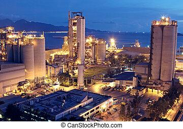 ou, indústria, pesado, construção, industry., concreto, fábrica, planta, cimento