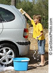 ou, lavando, car, tendo, limpeza, divertimento, tocando, criança
