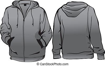ou, modelo, casaco, zipper, sweatshirt