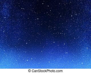 ou, noturna, espaço, céu, estrelas