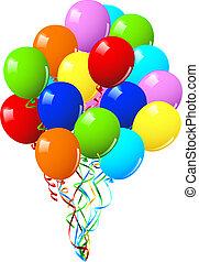 ou, partido, celebração aniversário, balões