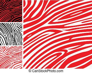 ou, pele, padrão, impressão, -, zebra, cobrança, vermelho, animal, branca