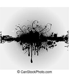 ou, plaint, splatter., grungy, vetorial, tinta