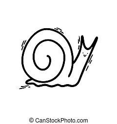 ou, pretas, doodle-style, esboço, seu, caracol, impressão, ícone, t-shirt, engraçado, cochlea., outline., face., design.